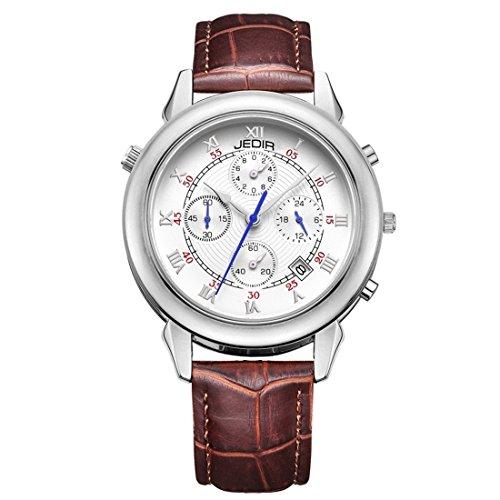 Relojes para hombres, JEDIR 527002 3ATM Impermeable Escala de Roma Cuatro alerones...