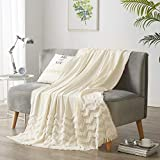 PHF 100% Cotton Textured Throw Blanket Solid for Sofa Couch, 50' x 60', Clipped Jacquard for Home Decoration, Cream White