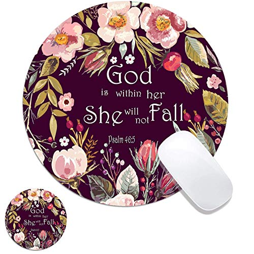 Vintage Colored Floral Bible Verses Customized Rubber Base Mouse Pad And Coaster Set For Mac,PC,Computers.7.9x7.9in