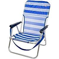 Aktive 53950 Silla Plegable Fija Aluminio Beach, 40 x 56 x 70 cm, Marinera