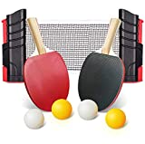 Ksera Ping Pong Paddle Set, Retractable Ping Pong Tabletop Tennis Set,2 Paddles and 4 Balls, Includes...