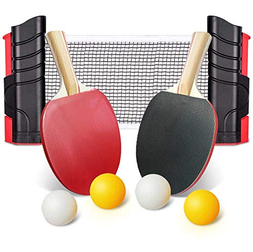 Ksera Ping Pong Paddle Set, Retractable Ping Pong Tabletop Tennis Set,2 Paddles and 4 Balls, Includes Convenient Portable Drawstring Bag for Children Adult Indoor or Outdoor Play