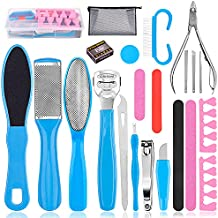 Pedicure Kit, Professional Pedicure Tools with Storage Bag Foot File Callus Remover for Feet Foot Care Scrubber Dead Skin Remover Set with Nail Clipper File,Stainless Steel 24 Pack