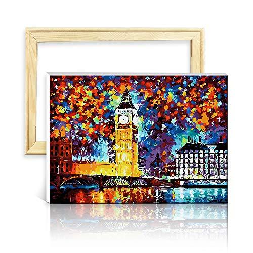 decalmile Malen Nach Zahlen Kits DIY Leinwand Gemälde für Erwachsene Kinder Anfänger London Big Ben 16