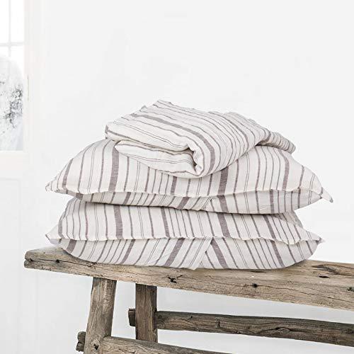 Simple&Opulence Bettbezug-Set, 100 % gewaschenes Leinen, weiß mit braunen Streifen, atmungsaktiv, weich, 3-teiliges Bettwäsche-Set, 1 Bettbezug mit 2 Kissenbezügen (Queensize, Brown)