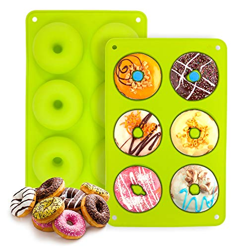 Silicone Donut Pan, Nonstick Silicone Bagel Baking Pan BPA Free, Durable Kitchen Accessories for Round Donut Green 1 Pcs