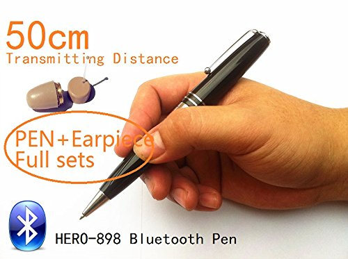 HERO 898 High Quality Bluetooth Pen With Spy Earpiece 40-60cm Long Transmitting Distance Can Listen During Writing (Full sets with earpiece)