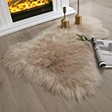 Ashler Soft Faux Sheepskin Fur Chair Couch Cover Beige Area Rug Bedroom Floor Sofa Living Room 2 x 3 Feet