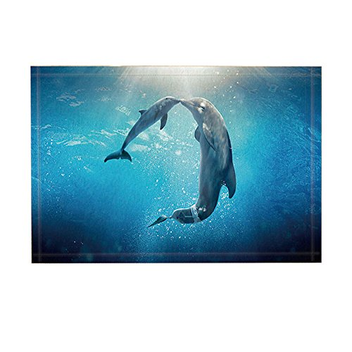 NYMB Ocean Bath Rug, Dolphins Intelligent Grace Creature Human Friend, Non-Slip Doormat Floor Entryways Indoor Front Door Mat, Kids Bath Mat, 15.7x23.6in, Bathroom Accessories