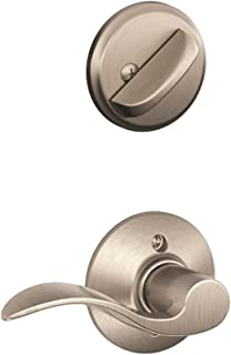 Satin Nickel Handle And Deadbolt With Keys Exterior Only Schlage Dexter JH58BAR619 Barcelona 2 Pieces