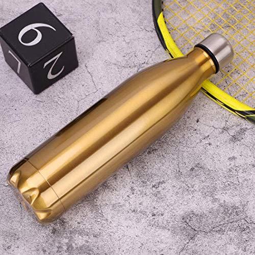 Yumanluo Botella de Agua Deportiva de Acero Inoxidable,Botella Deportiva Taza de Agua portátil al Aire Libre-Golden_1000ML,Aislamiento de Vacío de Doble Pared