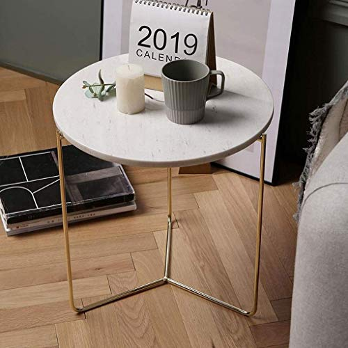 H-CAR Side Table Coffee Table End Table Side Table Marble Coffee Table Round End Table Iron Bedside Table Nordic Living Room Sofa Tables Bedroom Nightstand Sofa Table End Tables