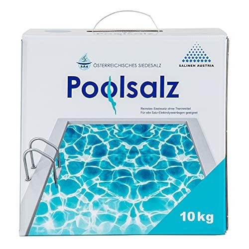 Salinen Austria 2 x POOLSALZ im Karton 10kg für Salzwasser-Pool & Schwimmbad I hochreines Siedesalz, 99,9% NaCI ohne Trennmittel I schnell löslich, für alle Salz-Elektrolyseanlagen/Chlorinatoren