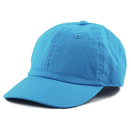 The Hat Depot Kids Washed Low Profile Cotton and Denim Plain Baseball Cap Hat (6-9yrs, Turquoise)