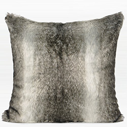 G Home Collection Luxury Gradient Gray Faux Fur Pillow Cover 22'X22'