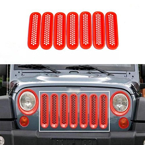 Nicebee 7pcs/Set Red Front Honeycomb Punch Round Grille Grill Mesh Insert Cover Trim for 2007-2017 Jeep Wrangler JK