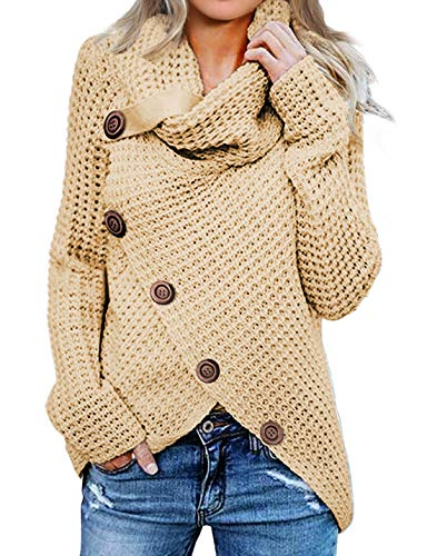 Asvivid Womens Cozy Turtleneck Cowl Neck Long Sleeve Sweater Winter Warm Button Asymmetrical Wrap Sweater Pullover Tops M Beige