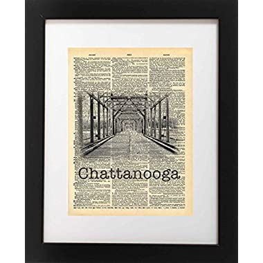 Walnut Street Bridge Chattanooga Tennessee Vintage Dictionary Print 8x10 inch Home Vintage Art Abstract Prints Wall Art for Home Decor Wall Decorations For Living Room Bedroom Office Ready-to-Frame