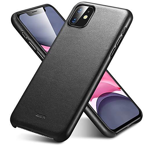 ESR Premium Echtleder Hülle kompatibel mit iphone 11 (2019) - Dünnes, leichtes, kratzfestes Vollleder Hülle [unterstützt kabelloses Laden] - Schutzhülle für iphone 11 mit Mikrofaserinnenfutter- Schwarz