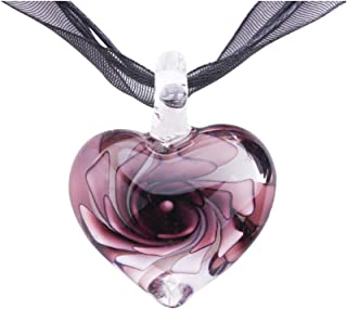 Exotic Style Eye-Catcher Handmade Romantic Heart with Pink Flower Design Glass Necklace