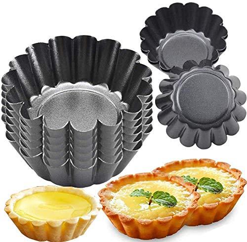Torteletts Törtchenformen Tartelette Förmchen 6.5Cm, BESTZY Tarteform Mini Quicheform, Antihaftbeschichtung Pieform Backform Wellenrand, Obstkuchenform Torte Baking Pan