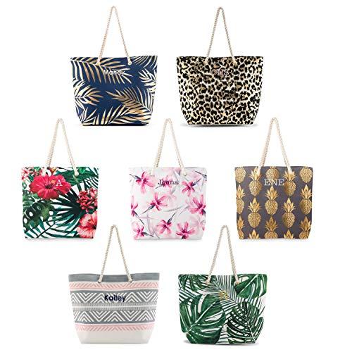 Weddingstar Personalisierte Strandtasche aus Baumwollleinen, extra groß, (Grünes Palmenblatt), X-Large