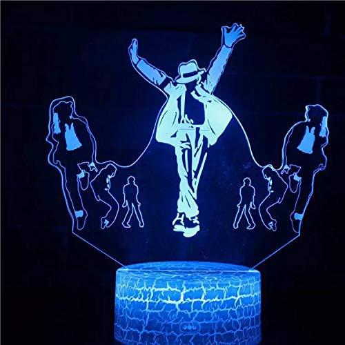Imaginativo Michael Jackson base de grietas luz nocturna luz de visión 3D luz LED multicolor decoración creativa lámpara de mesa pequeña acrílico luz multicolor