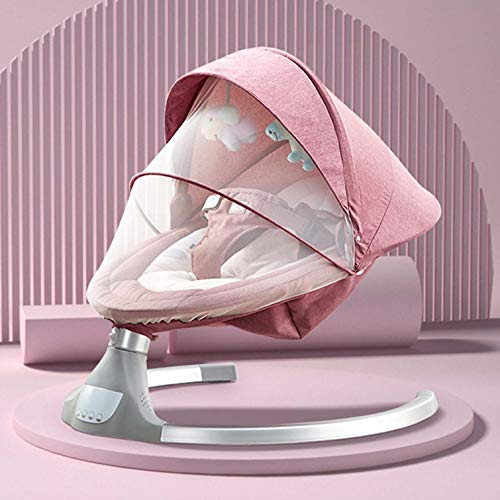 Baby Cradle Swing Electric Stand, Baby Crib Cradle Auto Rocking Chair Newborns Bassinets Sleep Bed, Rocking Music Remoter Control Sleeping Basket Bed Newborns Sway Baby Swing,Red