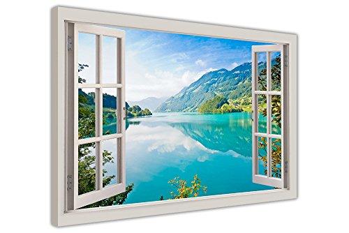 Canvas It Up Vista Lago di Montagna e Foresta Finestra Effetto Tela Wall Art Foto Deco Stampe Formato: A2–61x 40,6cm (60cm x 40cm)