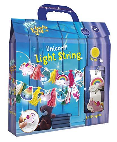 Lichterketten Bastelset –süße Einhorn-Lichterkette gestalten mit bunten Pombons und Einhorn-Motiven