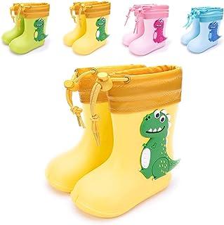 Botas de Agua Niña Niño Impermeable y Antideslizante Botas para Lluvia Amarillo cálido EU