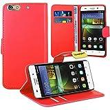 Huawei G Play Mini / Honor 4C Handy Tasche, FoneExpert® Wallet Case Flip Cover Hüllen Etui Ledertasche Lederhülle Premium Schutzhülle für Huawei G Play Mini / Honor 4C (Rot)