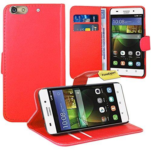 FoneExpert® Huawei G Play Mini/Honor 4C Handy Tasche, Wallet Hülle Flip Cover Hüllen Etui Ledertasche Lederhülle Premium Schutzhülle für Huawei G Play Mini/Honor 4C (Rot)