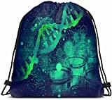 DHNKW Drawstring Backpack String Bag 14X16 3D Test Dna Structure On Scientific Healthcare Medical Gene Science Biotechnology Biochemistry Biology Cell Sport Gym Sackpack Hiking Yoga Travel Beach