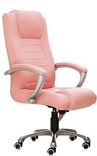 NEHARO Ergonómica Silla de Oficina Ordenador de Escritorio y una Silla con Brazos de Cuero Suave ergonómica Silla de Oficina Hogar (Color : Pink, Size : As Shown)