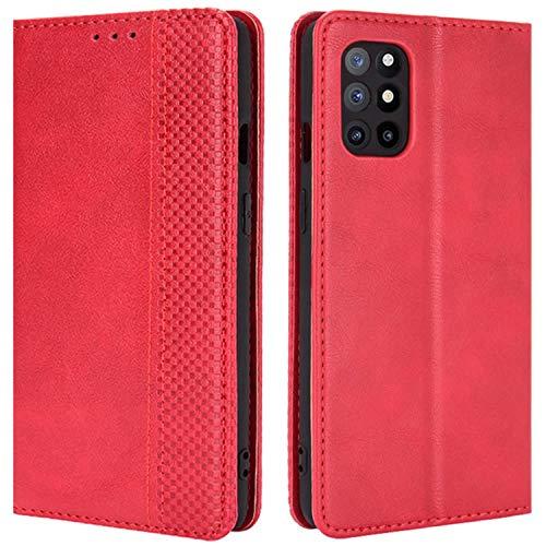 HualuBro Handyhülle für OnePlus 8T Hülle, Retro Leder Stoßfest Klapphülle Schutzhülle Handytasche LederHülle Flip Hülle Cover für OnePlus 8T Tasche, Rot