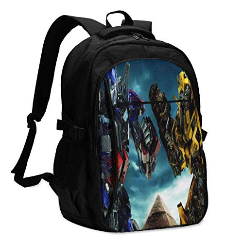 Transformers Optimus Prime Backpack Travel Laptop Backpack with USB Charging Port Headphone Interface College Bookbag for Women Men Boys Business Travel Anti Theft Backpack