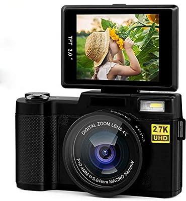 Digital Camera 2.7k 24MP Ultra HD Vlogging Cameras for YouTube 3.0 Inch 180 Degree Rotation Flip Screen with Retractable Flash Light from RUNSUG