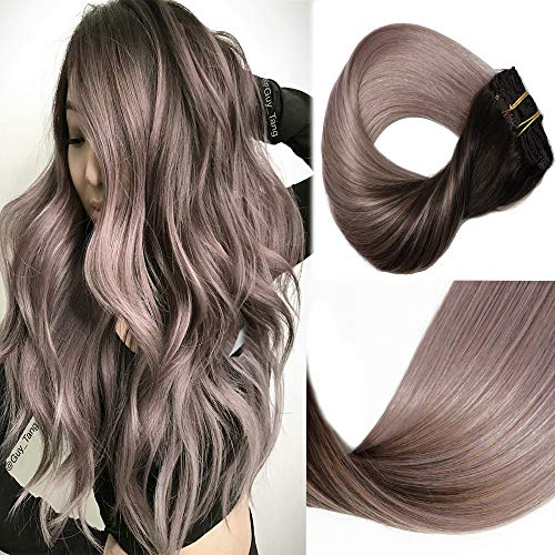 HUAYI Brown To Milky Lavender/Pink Mauve Ombre 120g 16inch 7Pcs Clip In Hair Extensions Human Hair Soft Thick End Tangle Free Durable Silky Straight Balayage Hair Extensions (2TG#16)