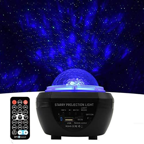 LED Galaxy Star Proyector Luz nocturna, proyector estrellado USB con control remoto de altavoz Bluetooth para techo de dormitorio, proyector de tragaluz con temporizador Niños Adultos Regalo, sincroni