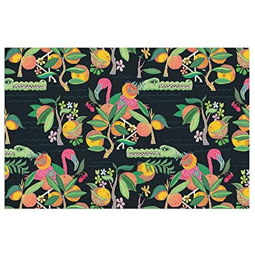 Felpudo de Flamingo y Cocodrilo, felpudo de bienvenida, felpudo para exteriores, alfombra de interior antideslizante, alfombra lavable para porche frontal, cocina, entrada, 40 x 60 cm