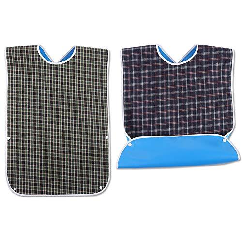 FRIUSATE 2 StÜck Wasserdichte Lätzchen für Erwachsen, Latz für Erwachsene Kleidungsschutz Lätzchen Schürze für ältere Männer Frauen Menschen Behinderung