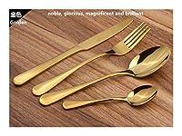 カトラリーセット 24PCS /セットステンレススチールラグジュアリーゴールドプレートカトラリー食器セットディナーナイフフォークスプーンセット食器食器5色 食器セット (Color : Gold)