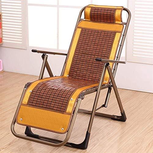 ZHUAN Chaises de Jardin inclinables Chair Chaise d'extérieur Pliante inclinable en Bambou Zero Gravity fabriquée à partir d'un Cadre en Acier pour Le Patio ou la Plage, Le Balcon, Le Parc ou Le ca
