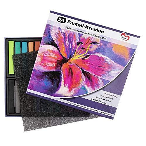 24 gessetti pastello di alta qualità in colori vivaci, altamente pigmentati per studio, artista, hobby, pittura, fai da te