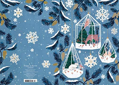 Roger la Borde TERRARIUMS - Kerstmis Sneeuwvlokken Kaart Kerstkaart Gouden folie 170 x 120 mm