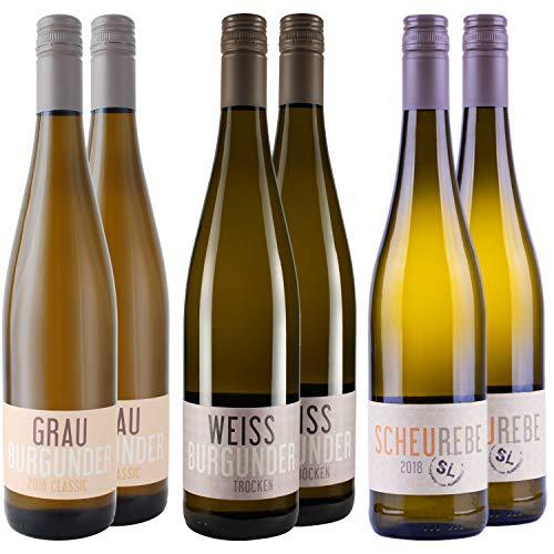 Nehrbaß - Weißwein trocken - Probierpaket 6 x 0,75 Liter aus: 2 x Grauburgunder 2018, 2 x Weißburgunder 2019, 2 x Scheurebe 2018 - Qualitätswein - Vegan - Aus Deutschland (Rheinhessen)
