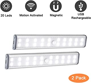 Wardrobe Light, Rechargeable 20 LED Motion Activated Under Cabinet Closet Lighting with Magnetic Strip to Stick on Anywhere for Home Stairs Steps Cupboard Cabinet Wardrobe Closet (2 Pack)