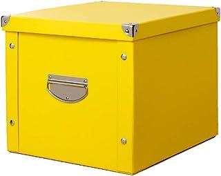 HQUEC 収納ボックス 折り畳み 収納ケース 大容量 蓋つき 取っ手付き おもちゃ箱 書類 衣類 日用雑貨 防水 頑丈 (イエロー, 38×33×30cm)