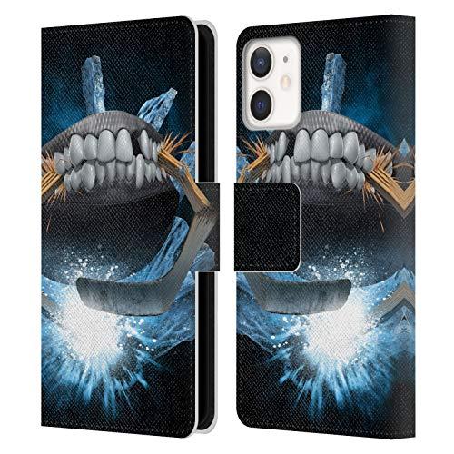 Head Case Designs Offizielle Tom Wood Hockey Monster Leder Brieftaschen Handyhülle Hülle Huelle kompatibel mit Apple iPhone 12 Mini